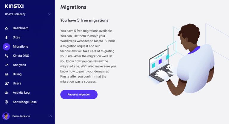 MyKinsta kostenlose Migrationen