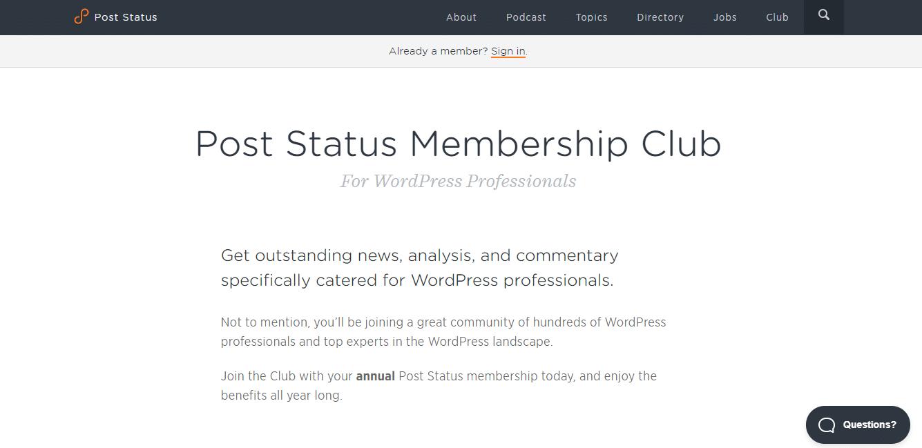 Post Status Mitgliedschaft