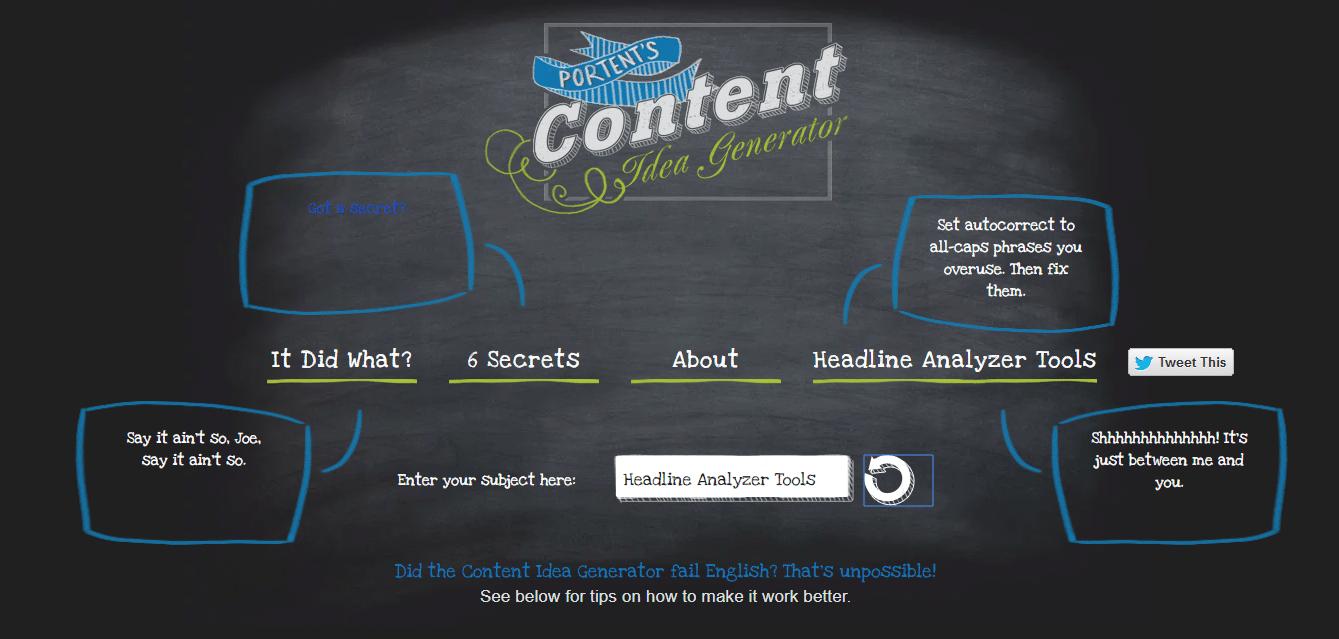 Verwendung des Ideengenerators für Portent Content Idea Generator