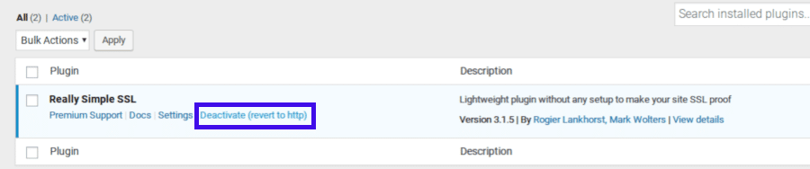 Deaktivieren des Really Simple SSL Plugins