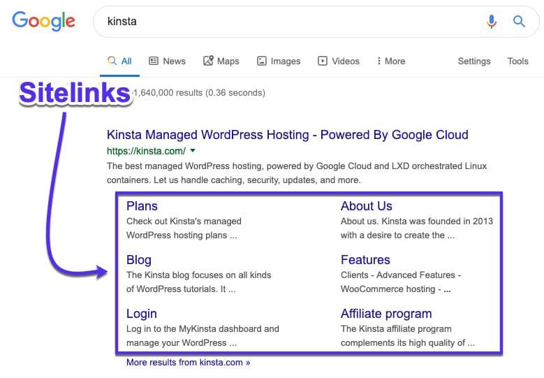 Google Sitelinks in SERPs
