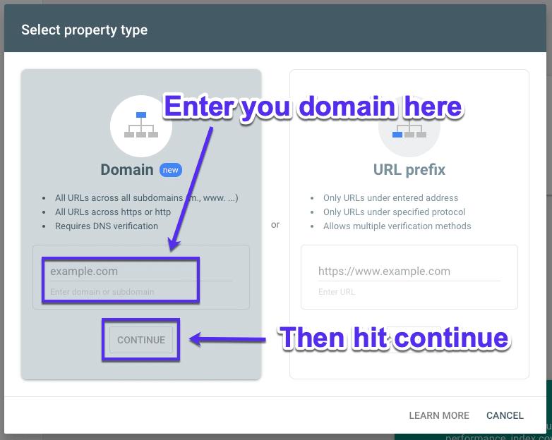 Deine Domain zur Google Search Console hinzügen