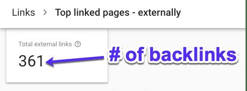 Überprüfe die Anzahl der Backlinks in der GSC