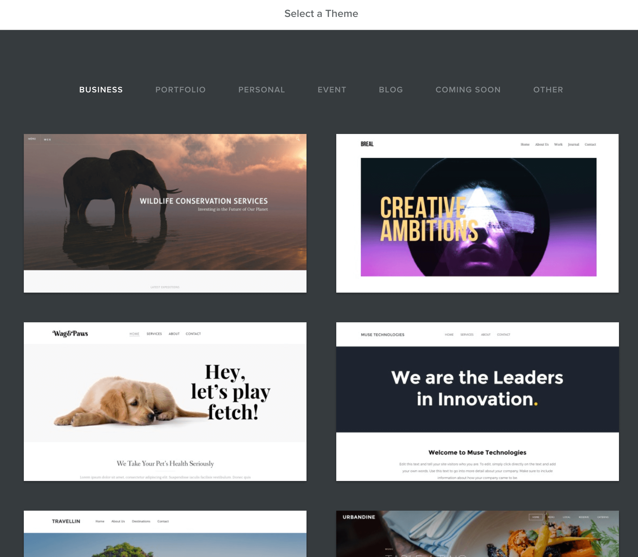 Weebly onboarding Themeauswahl