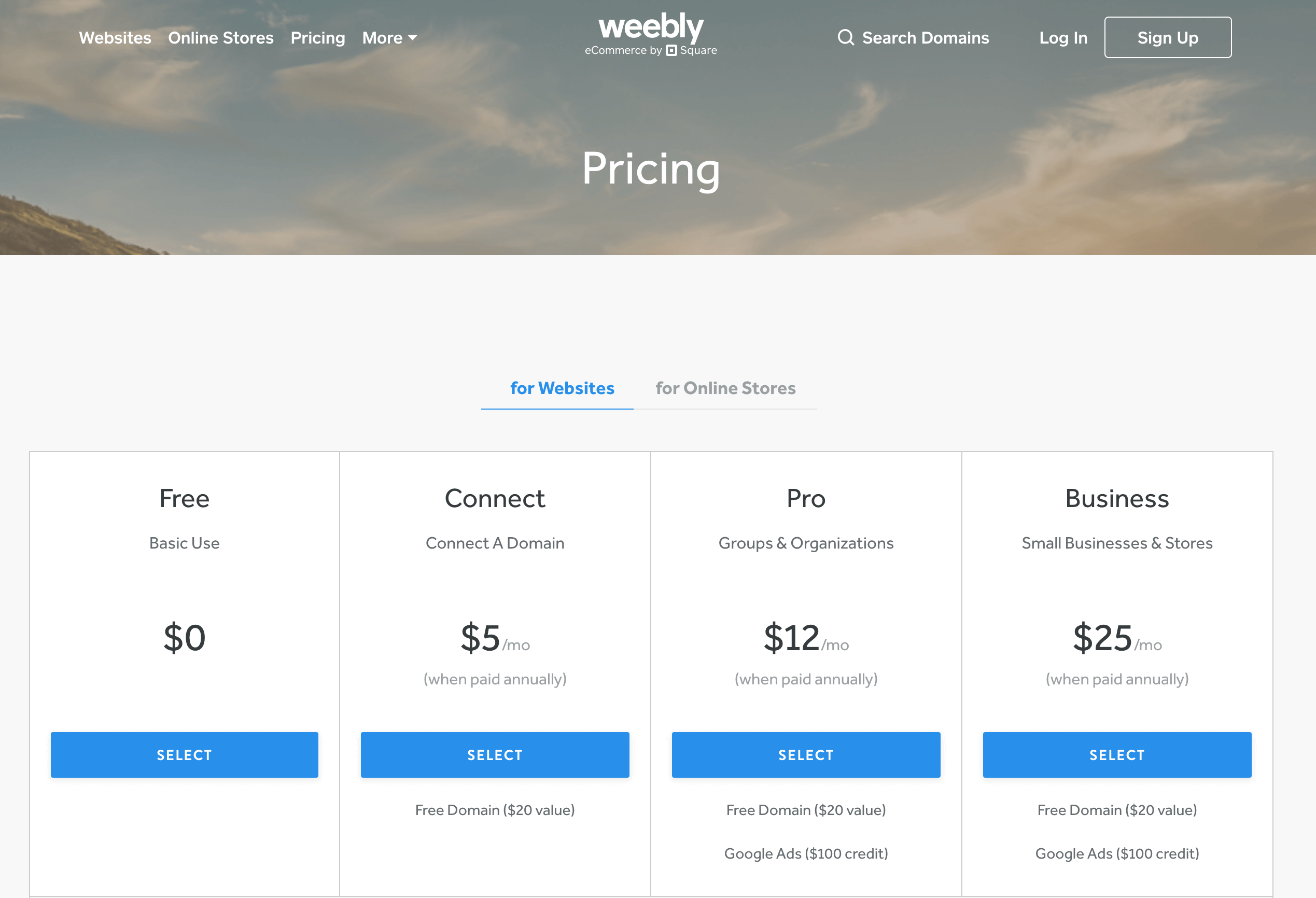Weebly Preise