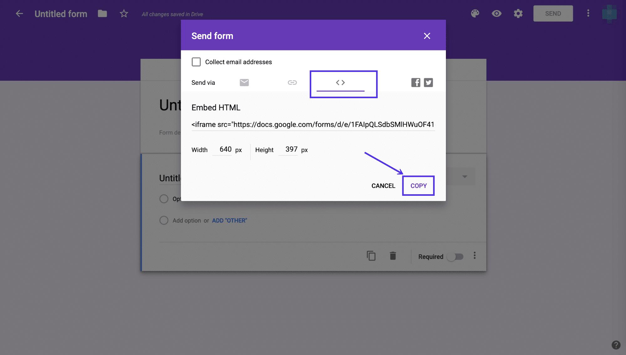 Der Embed-Code für Ihr Google-Formular wird angezeigt.
