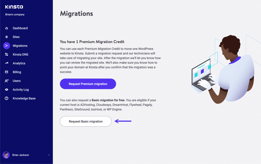 MyKinsta Basic Migrationen