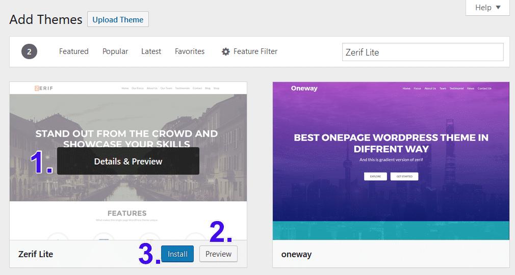 Vorschau oder Installation eines WordPress-Themes