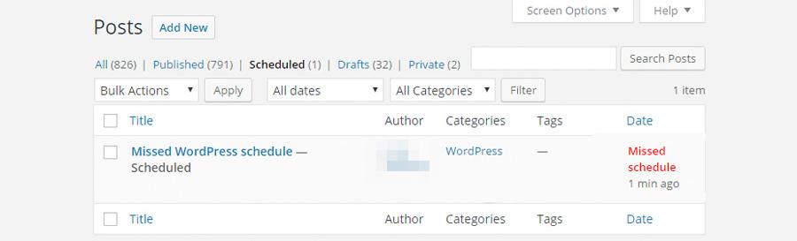WordPress Missed Schedule Error