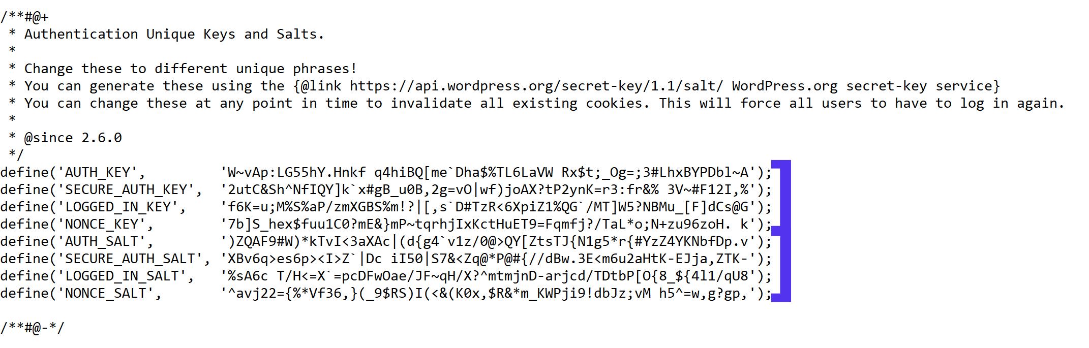 Ein Beispiel der WordPress Salts in der wp-config.php Datei