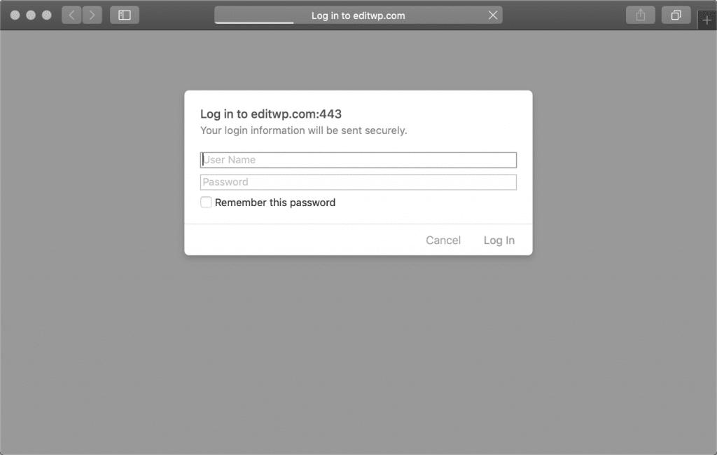 Authentifizierung erforderlich Eingabeaufforderung in Safari
