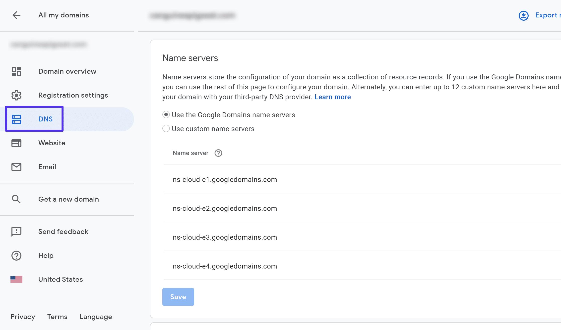 Wie man die Nameserver bei Google Domains ändert
