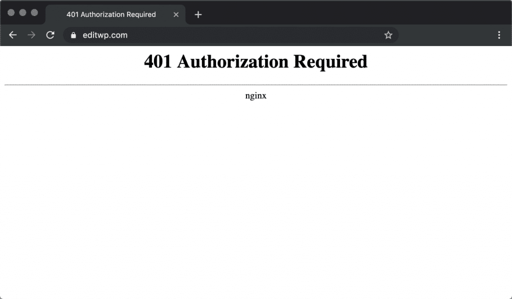 Nginx 401 authorization required error in Chrome