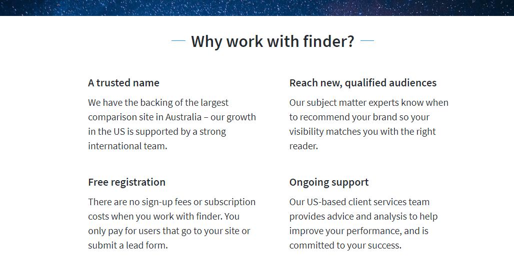 Die Partnerseite von Finder.com