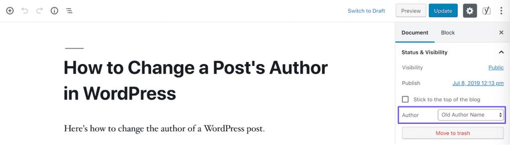 Autor ändern in Blockeditor