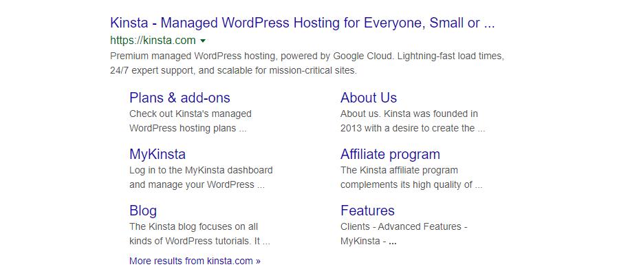Ein Beispiel für Sitelinks