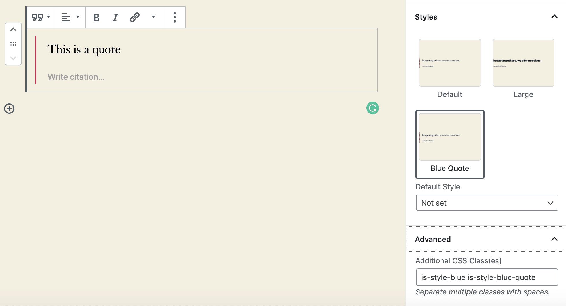 Ein Zitat mit einem benutzerdefinierten Stil im Blockeditor