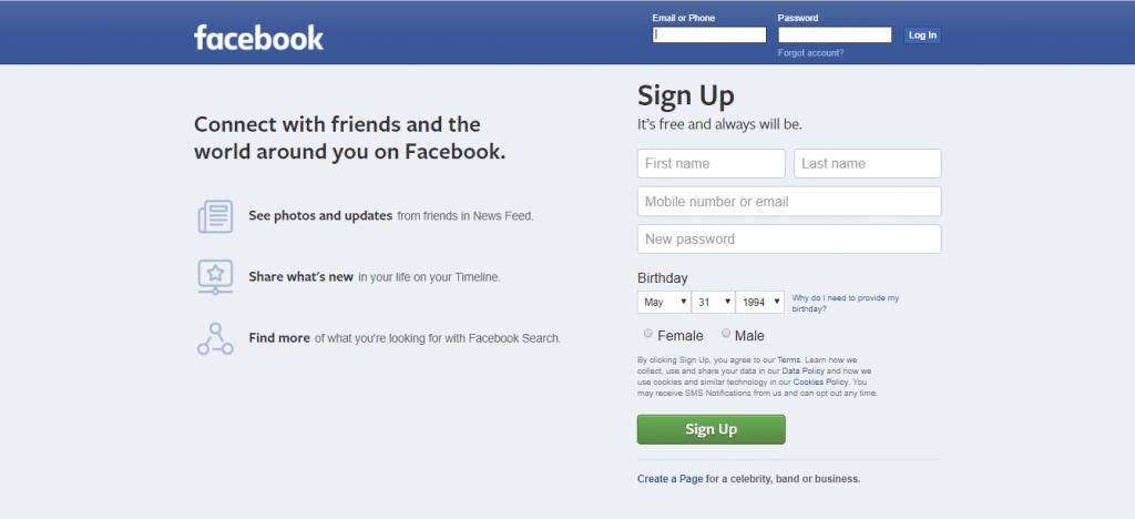 Die Homepage von Facebook