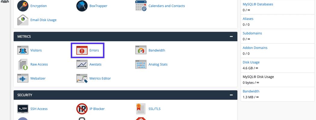 Klicke auf den Fehler Button unter Metriken
