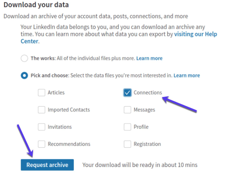 Kopiere LinkedIn-Daten, um E-Mail-Adressen zu erhalten.