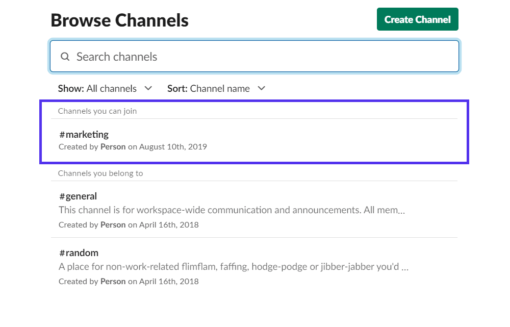 "Option ""Browse Channels"""