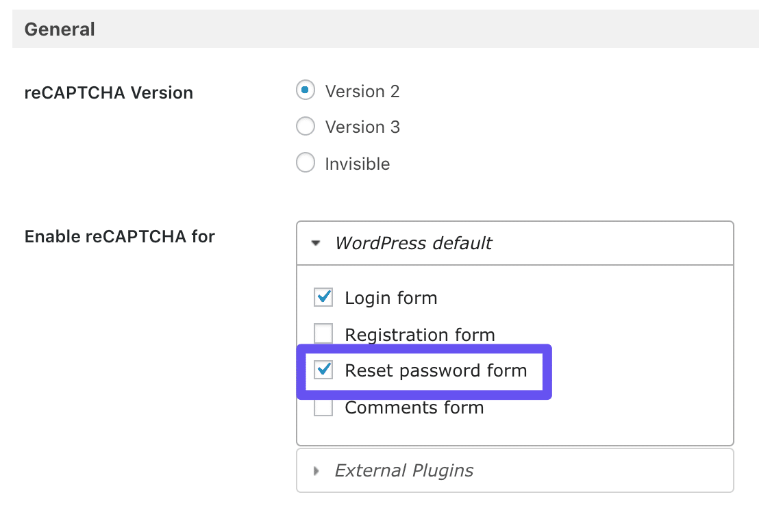 Die Option Rest-Passwort-Formular im Google Captcha-Plugin