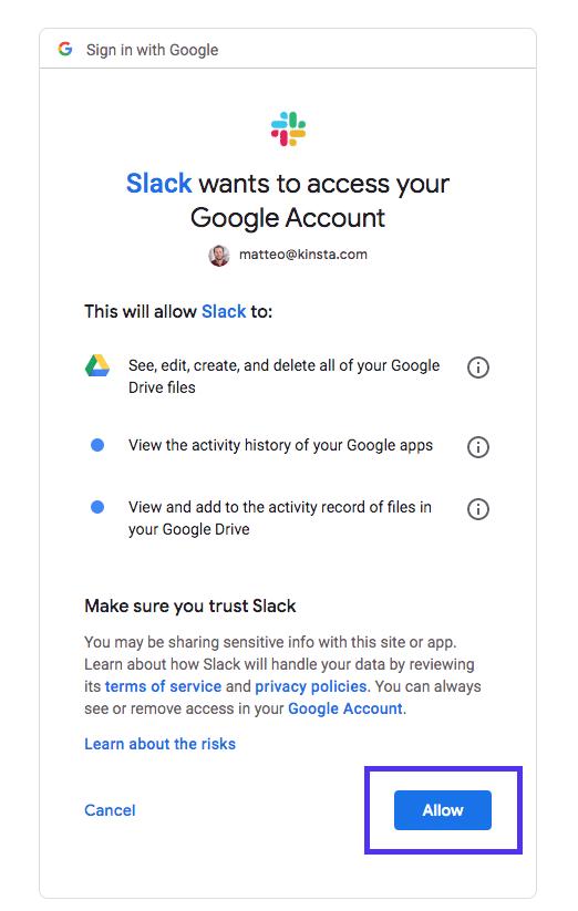 Slack google docs und Laufwerk-Authentifizierung