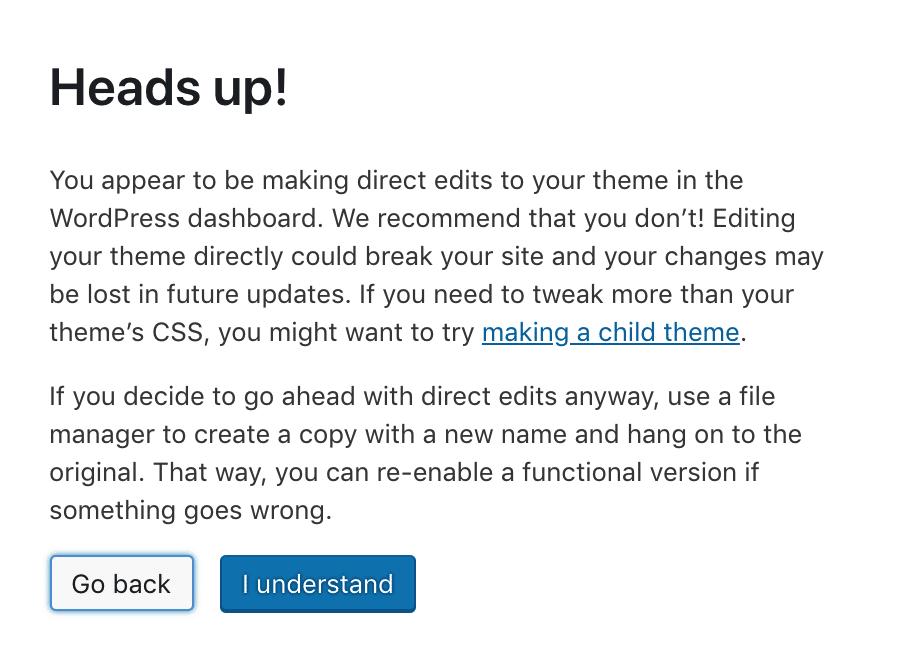 Template Editor Warnung