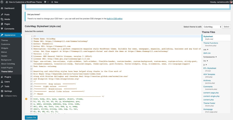Der WordPress Theme Editor