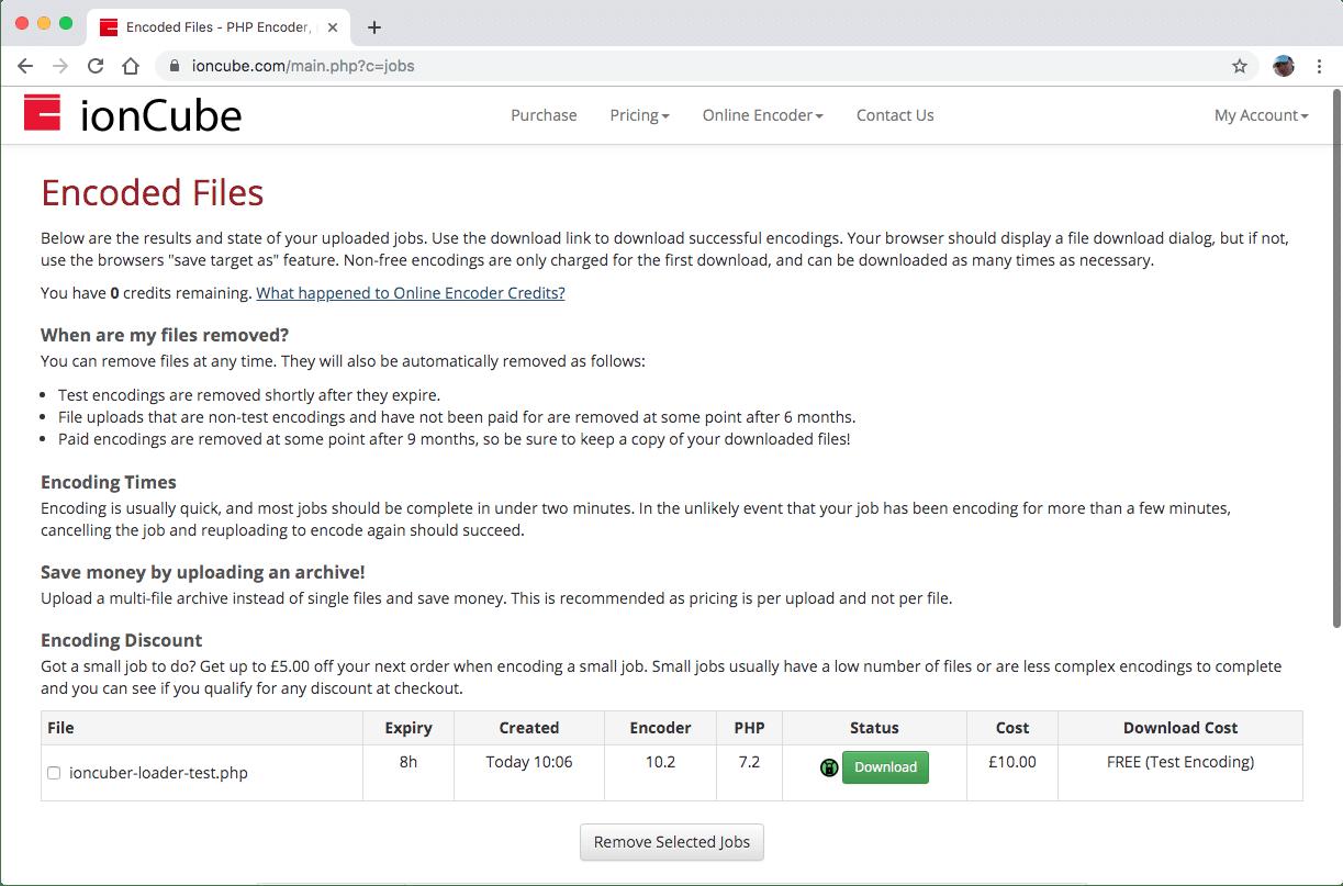 Verschlüsselte hochgeladene ionCube-Dateien