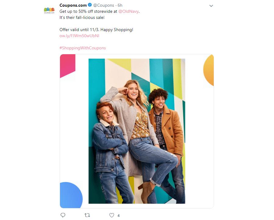 Ein Coupons.com Tweet
