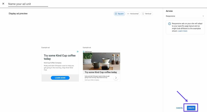 Display Ad Setup Bildschirm