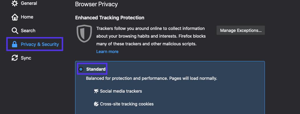 Stelle sicher, dass die Option Standard für den erweiterten Tracking-Schutz ausgewählt ist