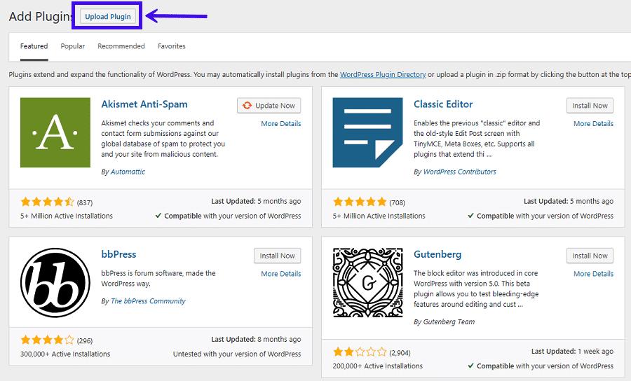 Ein WordPress Plugin hochladen