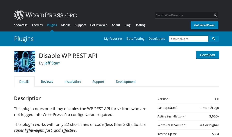 Disable WP REST API Plugin