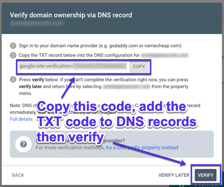 Verifizierung des Domainenbesitzes mit DNS-Einträgen