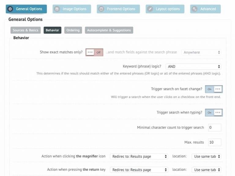 Ajax Search Plugin: Suchverhalten