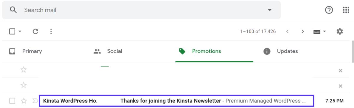 Autoresponder-Nachricht von Kinsta
