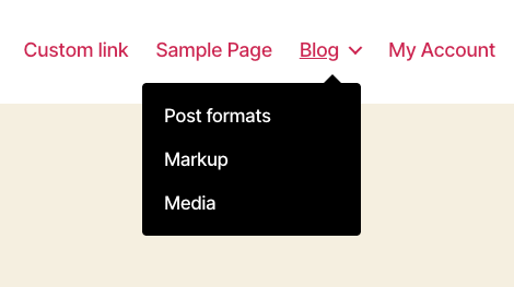 Beispiel für ein Dropdown-Menü in WordPress