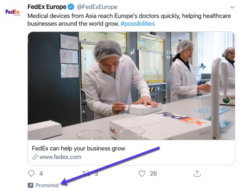 Ein Beispiel für einen promoteten Tweet