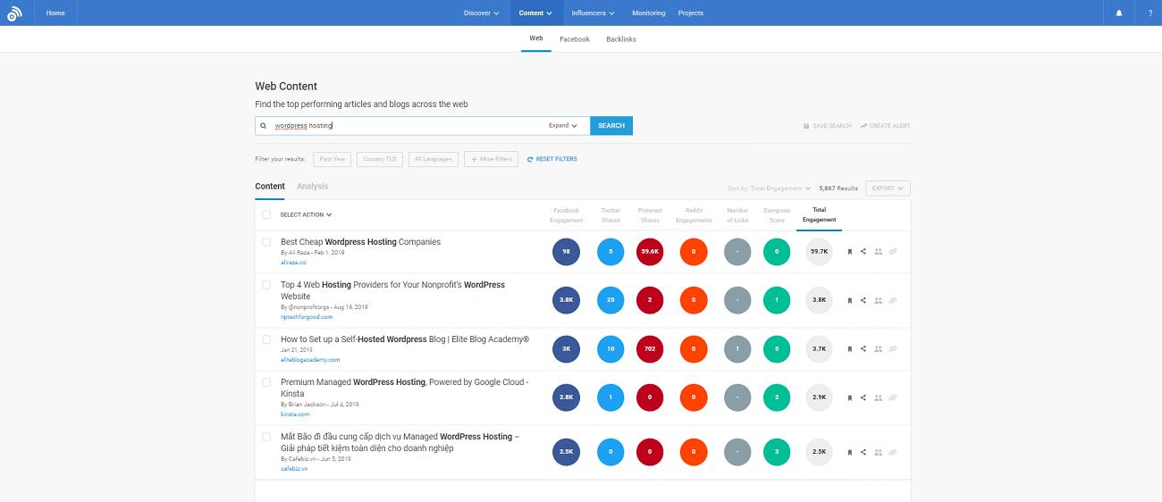 BuzzSumo Web-Content-Recherche