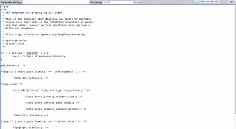 Beispiel für page.php Code, der in eine neue Datei kopiert wird