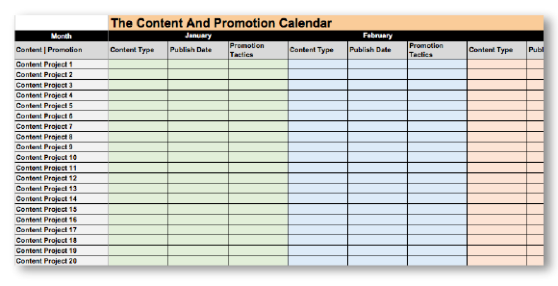 Ein Beispiel für einen Content-Kalender, mit dem du für Blog-Beiträge werben kannst
