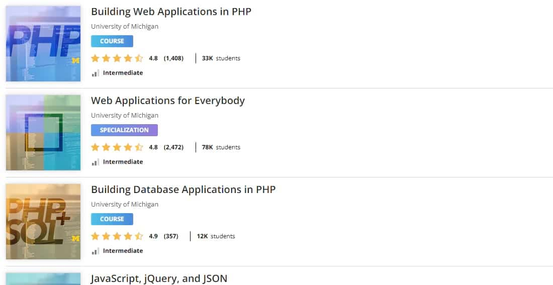 PHP Courses auf Coursera