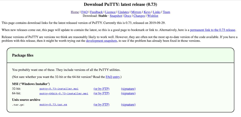 Die PuTTY Webseite