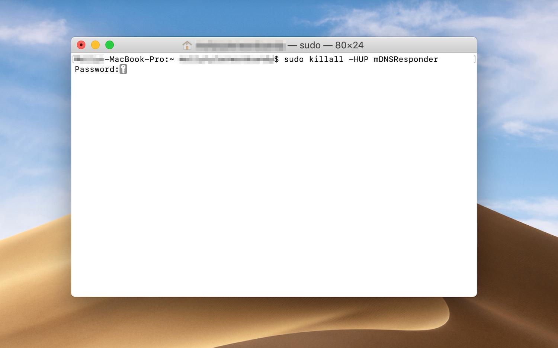 Eingabe des Admin-Kennworts zur Ausführung des DNS-Flush-Befehls
