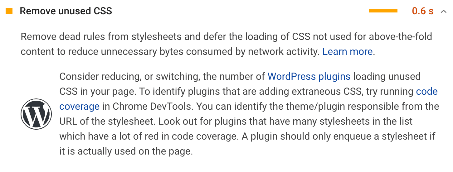 Ungenutztes CSS entfernen Empfehlung