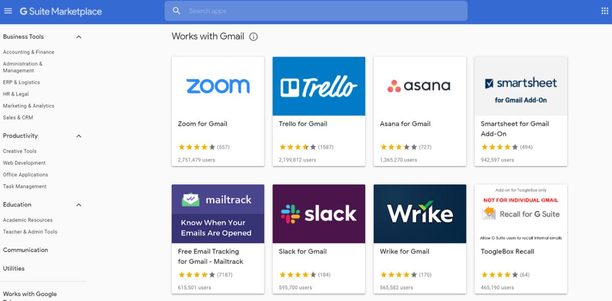Seite mit Google Mail-Add-Ons im G-Suite Marketplace