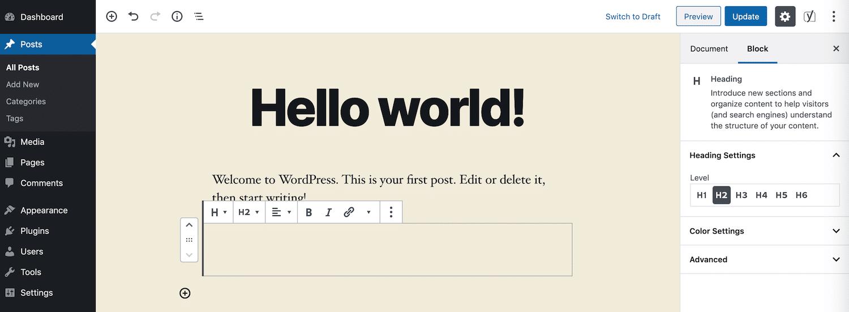Hinzufügen einer Kopfzeile im Block-Editor