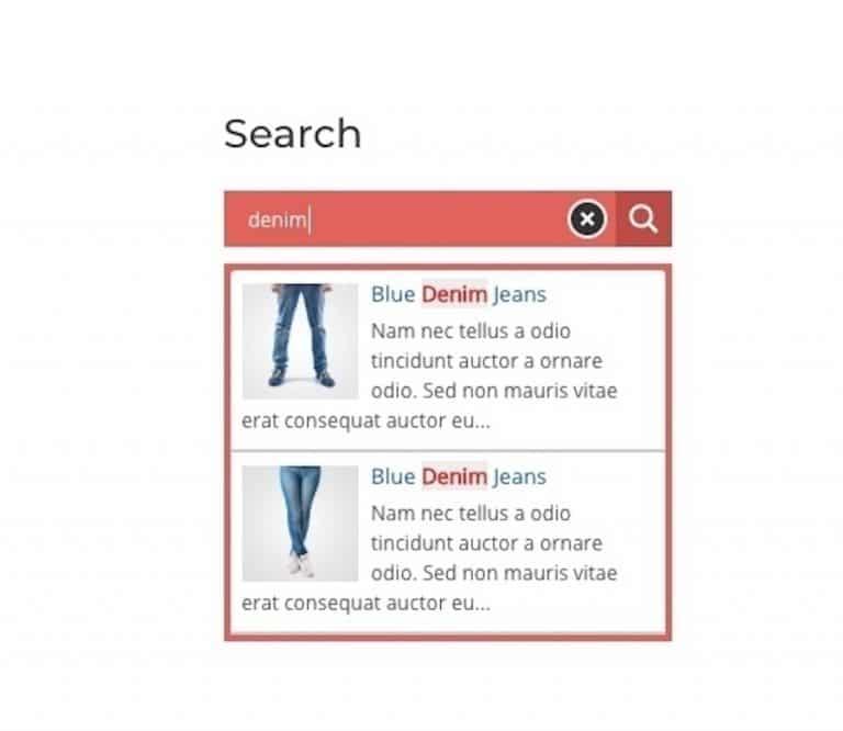 Hervorgehobene Schlüsselwörter in den Suchergebnissen